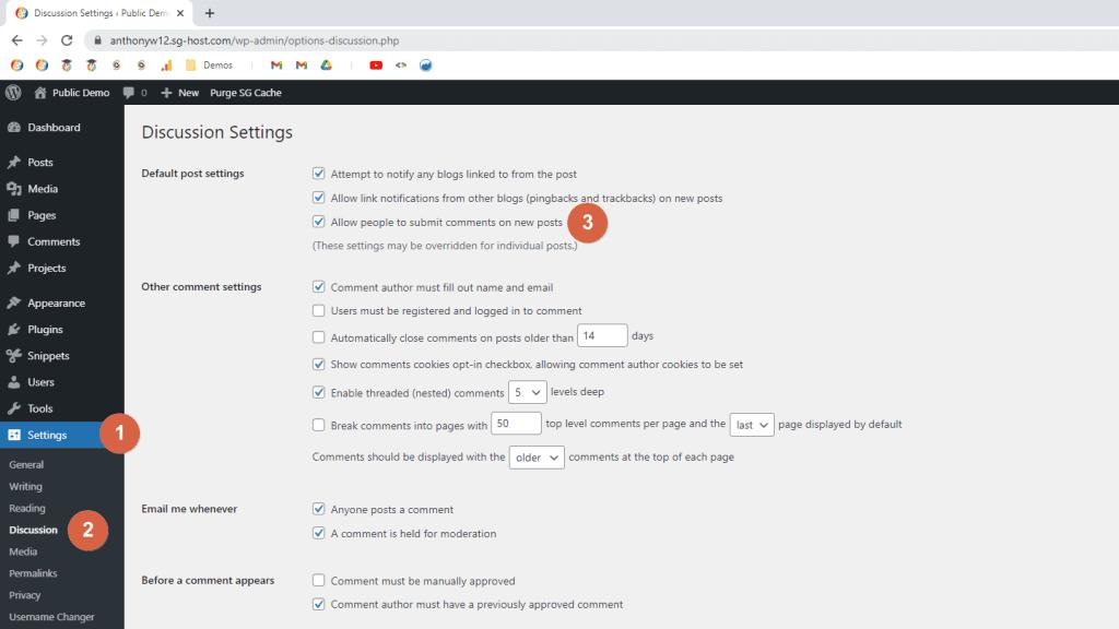 Screenshot of the WordPress Dashboard; highlighting the comments settings; WordPress settings