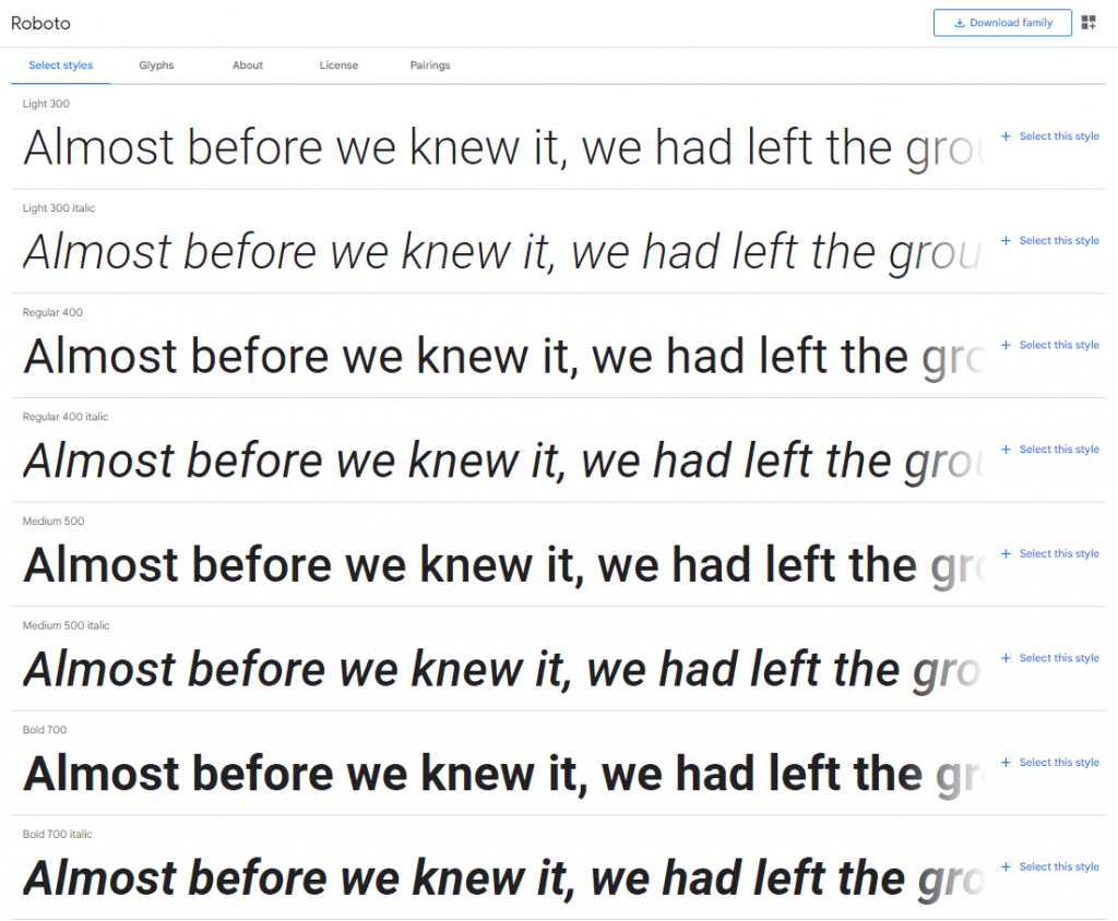 list of styles from roboto font - font mistakes